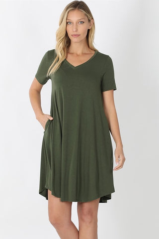 V-Neck A-Line Dress -  Army Green