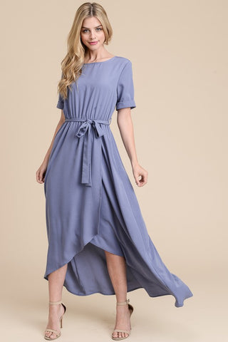 Half Sleeve Solid Maxi Dress - Blue