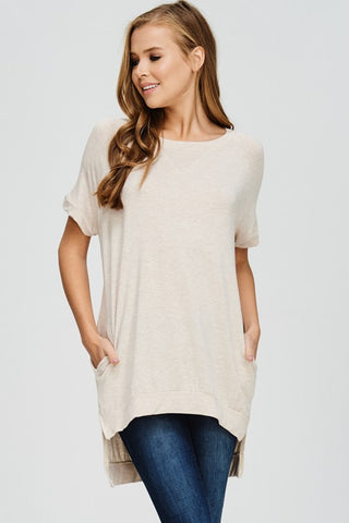 Crew Neck High Low Top - Oat