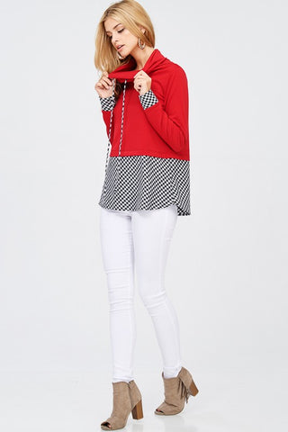 Checkered Cowl Neck - Red