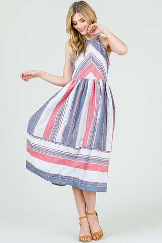 Summer Striped Midi Dress - Red and Blue