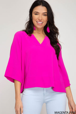 Wide Sleeve V-Neck Top - Hot Pink