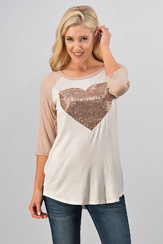 Sequined Heart Baseball Tee - Taupe