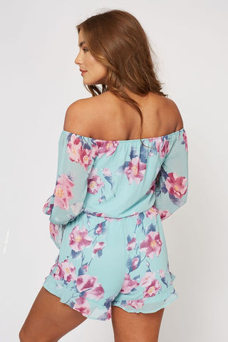 Off Shoulder Romper - Tropical Floral
