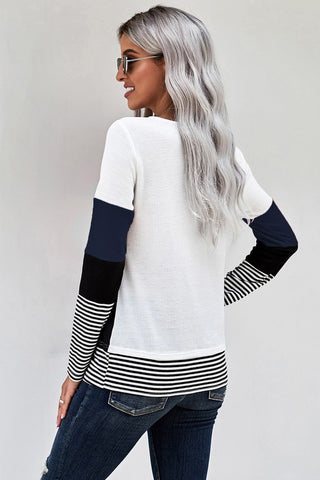 Color Block Striped Top - Blue