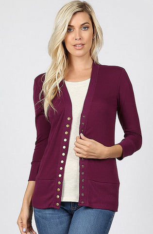 Snap Up 3/4 Sleeve Cardigan - Plum