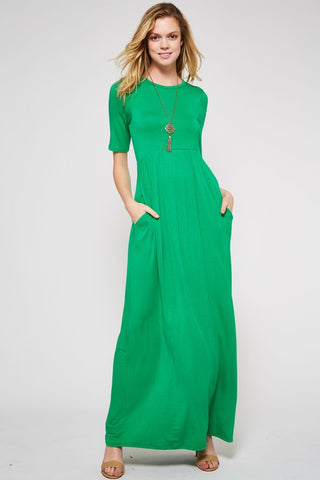 Half Sleeve Maxi Dress - Shamrock Green