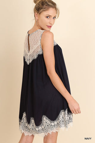 Sleeveless Lace Detail Dress - Navy