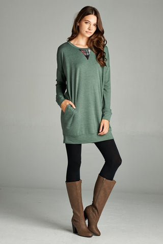 Olive Tunic Top with Plaid Detail