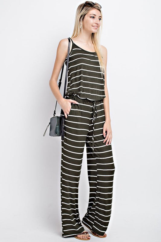 70da0efc537 Casual Striped Jumpsuit - Olive