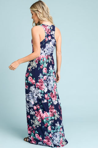 Racerback Garden Floral Dress - Navy