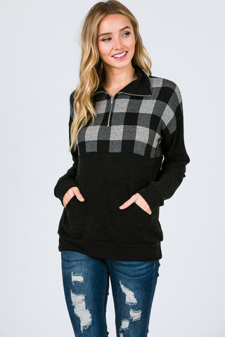 Zip Up Buffalo Plaid Top - Taupe and Black