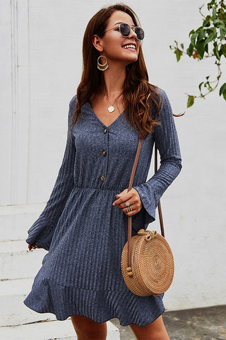 Falling for Fall Bell Sleeve Dress - Navy
