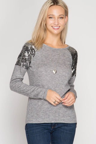 Sequined Detail Top - Grey