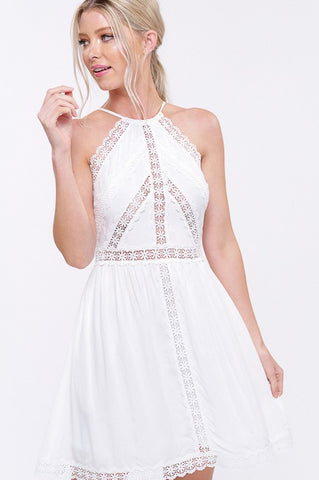 Lace Beauty Halter Dress - Ivory