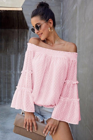 Off Shoulder Spring Top - Pink
