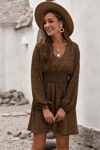 Smocked Waist Balloon Sleeve Dress - Brown