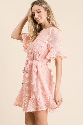 Half Sleeve Tie Dress - Blush