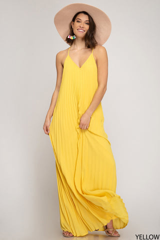 Pleated Maxi Dress - Yellow