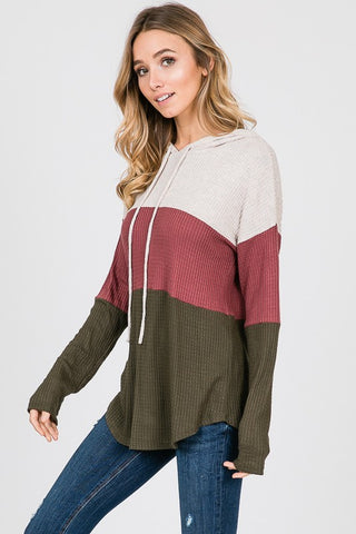 Soft Waffle Weave Color Block Hoodie - Oatmeal and Mauve