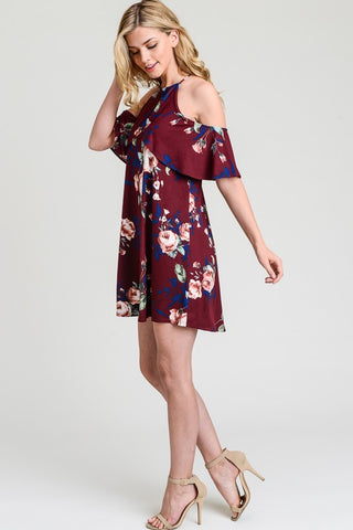 Cold Shoulder Dress - Wine