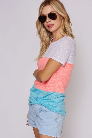 Neon Color Block Tee - Pink and Blue