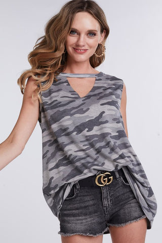 Sleeveless Choker Style Camo Top - Charcoal