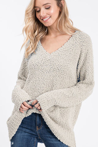 Popcorn V-Neck Sweater - Taupe