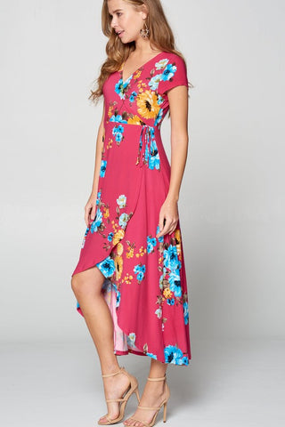 Floral High Low Maxi Dress  - Hot Pink