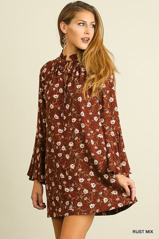Tie Boho Dress - Rust