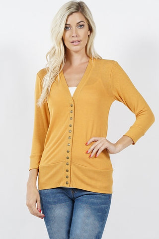 Snap Up 3/4 Sleeve Cardigan - Ash Mustard