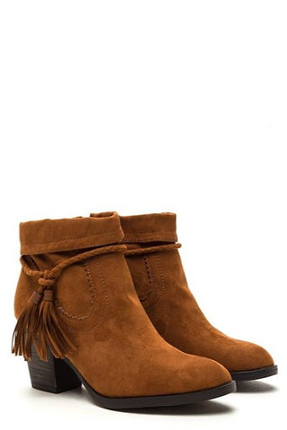 Tassel Booties - Rust - $20