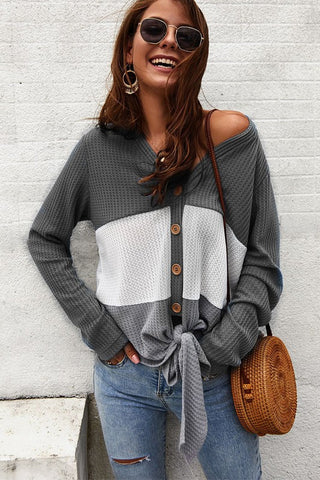 Color Block Button Up Thermal Top - Gray