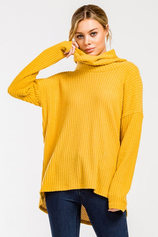 dac3851173 Soft Waffle Weave Cowl Neck Top - Mustard