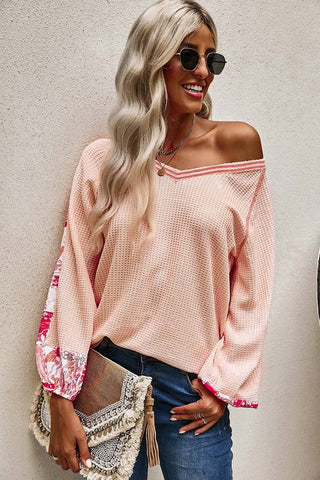 Contrast Sleeve Thermal Top - Pink