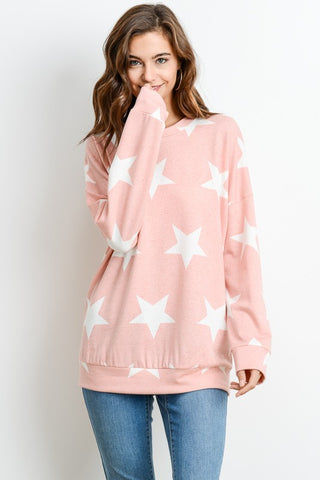 Star Print Lightweight Sweatshirt - Pink