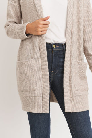 Brushed Thermal Cardigan - Taupe