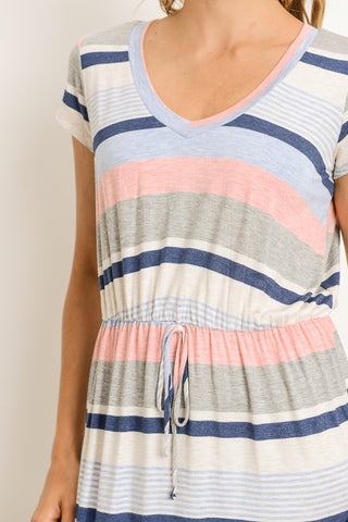 Cap Sleeve Striped Maxi Dress - Navy and Pink