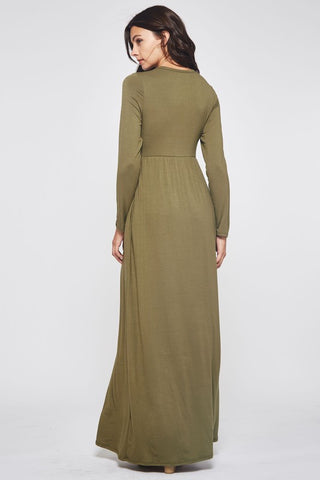 Solid Long Sleeve Maxi Dress - Olive