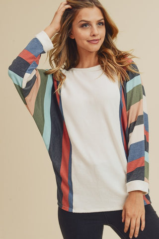 Cashmere Feel Color Block Top
