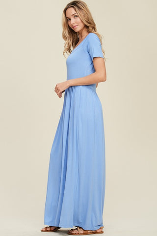 Boat Neck Knit Maxi Dress - Indigo