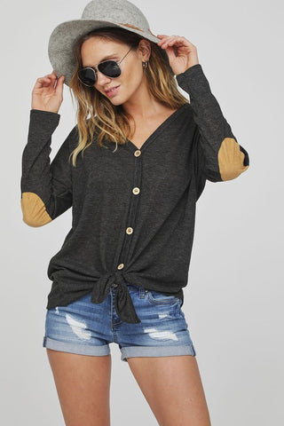 Button Up Knit Top with Elbow Patch - Charcoal