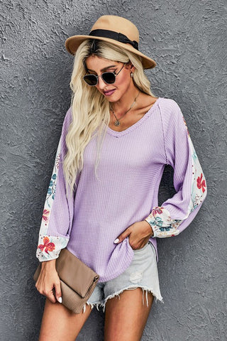 Contrast Sleeve Thermal Top - Purple
