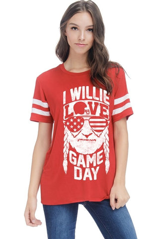 I Willie Love Game Day Top - Red