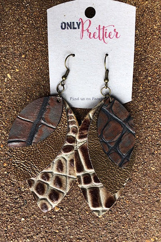 Layered Leather Animal Print Earrings - Brown