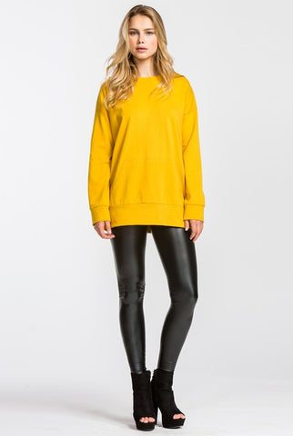 Cotton Tunic Top with Pockets - Mustard