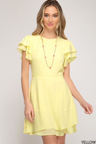Flounce Sleeve Dress - Yellow