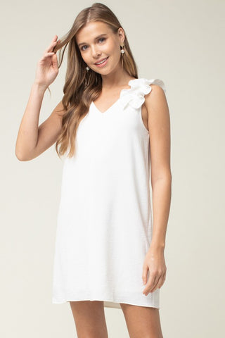 Ruffle Sleeveless Shift Dress - Ivory