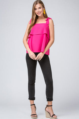 Bow Strap Top - Fuchsia
