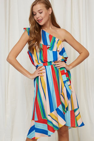 Rainbow Stripes One Shoulder Dress